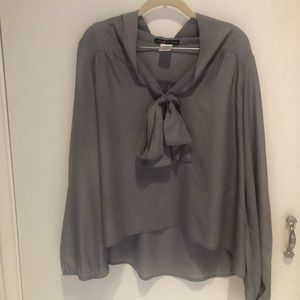 Swingy Grey bow tie blouse!